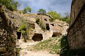 stock photo of crimea  - Cave house in medieval fortress town Chufut - JPG