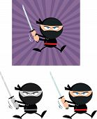 stock photo of chibi  - Angry Ninja Warrior  Cartoon Characters 5 Flat Design  Collection Set - JPG