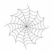 stock photo of cobweb  - Vector Black Cobweb Isolated on White Background - JPG