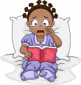 image of tragic  - Illustration of a Little Black Girl Crying Over the Book She is Reading - JPG