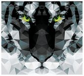 stock photo of polygons  - Geometric polygon white tiger head - JPG