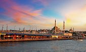 ISTANBUL TURKEY - MAY 3: Galata Bridge and the Golden Horn view from Galata Tower on May 3 2013 in I