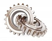 Two Chrome Gears On White Background.