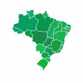 image of political map  - Flat simple Brazil map - JPG