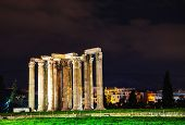 stock photo of olympian  - Temple of Olympian Zeus in Athens in the night - JPG