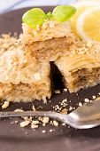 pic of baklava  - Traditional Turkish sweet baklava stuffed with walnuts - JPG
