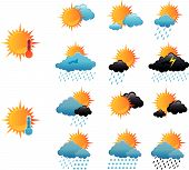 Set of weather icons poster