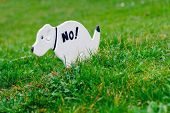 stock photo of pooping  - No Pooping On The Grass Sign Shaped Like A Dog - JPG