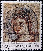CYPRUS - CIRCA 1989: A stamp printed in Cyprus shows a mosaic with the figure of Apollo circa 1989