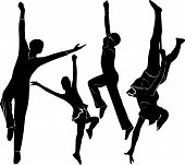 stock photo of aerialist  - acrobats gymnasts people female circus athlete agility isolated - JPG