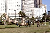 Military Personel And Helicopter On Beach Front In Durban