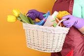 picture of spring-cleaning  - Housewife holding basket with cleaning equipment on color background - JPG