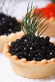 Постер, плакат: Canapes With Black Sturgeon Caviar Fish Macro