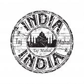 picture of mausoleum  - Black grunge rubber stamp with the Taj Mahal mausoleum and the name of India written inside the stamp - JPG