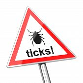 stock photo of ixodes  - 3d generated picture of a ticks warning sign - JPG