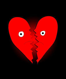 image of heartbreaking  - Heart that is both sad a broken due to heartbreak - JPG