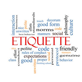 picture of politeness  - Etiquette Word Cloud Concept with great terms such as manners polite social and more - JPG