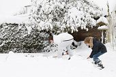 image of shovel  - Father And Son Shoveling Snow Together In A Garden - JPG