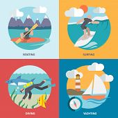 image of ski boat  - Water sports boating surfing diving yachting flat icons set isolated vector illustration - JPG