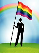 foto of flag pole  - Businesswoman Leader Holding Gay Flag Original Vector Illustration AI8 Compatible - JPG