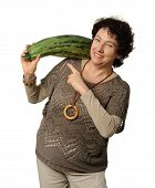 pic of phallic  - Woman holding big courgette  - JPG