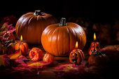 pic of cornucopia  - Traditional pumpkins for Thanksgiving and  Halloween - JPG