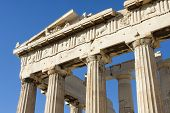 foto of parthenon  - The columns of Parthenon the temple in the Acropolis of Athens in Athens Greece. ** Note: Shallow depth of field - JPG