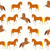 pic of bay horse  - Seamless texture red horse and bay horse vector illustration - JPG