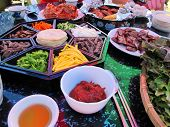 foto of korean  - A delicious assortment of colorful Korean Food for the National Holiday of Chuseok- Gyeryong, South Korea.