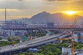 stock photo of hong kong bridge  - Hong kong highway at sunset - JPG