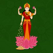 stock photo of laxmi  - Hindu mythological Goddess Laxmi giving blessings on occasion of Hindu community festival Diwali celebrations - JPG