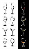 image of interpreter  - set of stylized glasses for wine champagne whiskey cognac brandy rum and so forth in a few Interpretation - JPG
