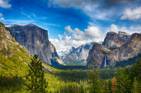 foto of granite dome  - The view of the Yosemite Valley from the tunnel entrance to the Valley. Yosemite National Park California