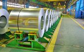 image of coil  - Cold rolled steel coils stored in a steel plant - JPG