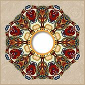 picture of doilies  - floral round pattern in ukrainian oriental ethnic style for your greeting card or invitation - JPG