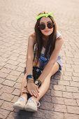 image of denim wear  - Beautiful oriental girl brunette with long straight hair - JPG