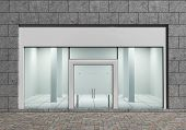 image of department store  - Modern Empty Store Front with Big Windows - JPG
