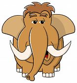 picture of mammoth  - vector illustration of a cartoon mammoth on white background - JPG