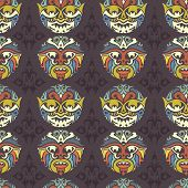 stock photo of african mask  - Tribal mask seamless pattern - JPG