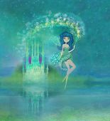 foto of fable  - Magic Fairy Tale Princess Castle on abstract background  - JPG
