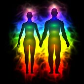 picture of aura  - 3d illustration of rainbow aura of woman and man - JPG