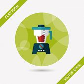 stock photo of juicer  - Kitchenware Juicer Flat Icon With Long Shadow - JPG