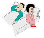 foto of wifes  - Vector Humorous Illustration of Snoring Husband and Sleepy Wife - JPG