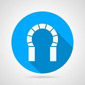image of horseshoe  - Flat round blue vector icon with white silhouette brick horseshoe archway on gray background - JPG
