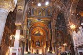 foto of church interior  - Detail Interior of the famous Cappella Palatina in the Palazzo Reale in Palermo in Sicily Italy - JPG