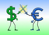 image of domination  - Dollar and Euro are fighting with each other for dominance - JPG