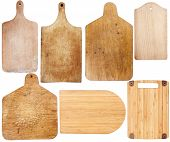 picture of cutting board  - Set of new and used cutting boards isolated on a white background - JPG