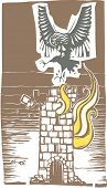 picture of cannibalism  - Woodcut style image of Greek mythological harpy flying over a burning tower - JPG