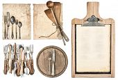 stock photo of kitchen utensils  - kitchen board aged recipe paper and vintage cutlery isolated on white background - JPG