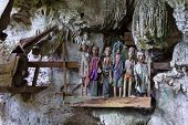 picture of burial  - Row of dressed wood statues  - JPG